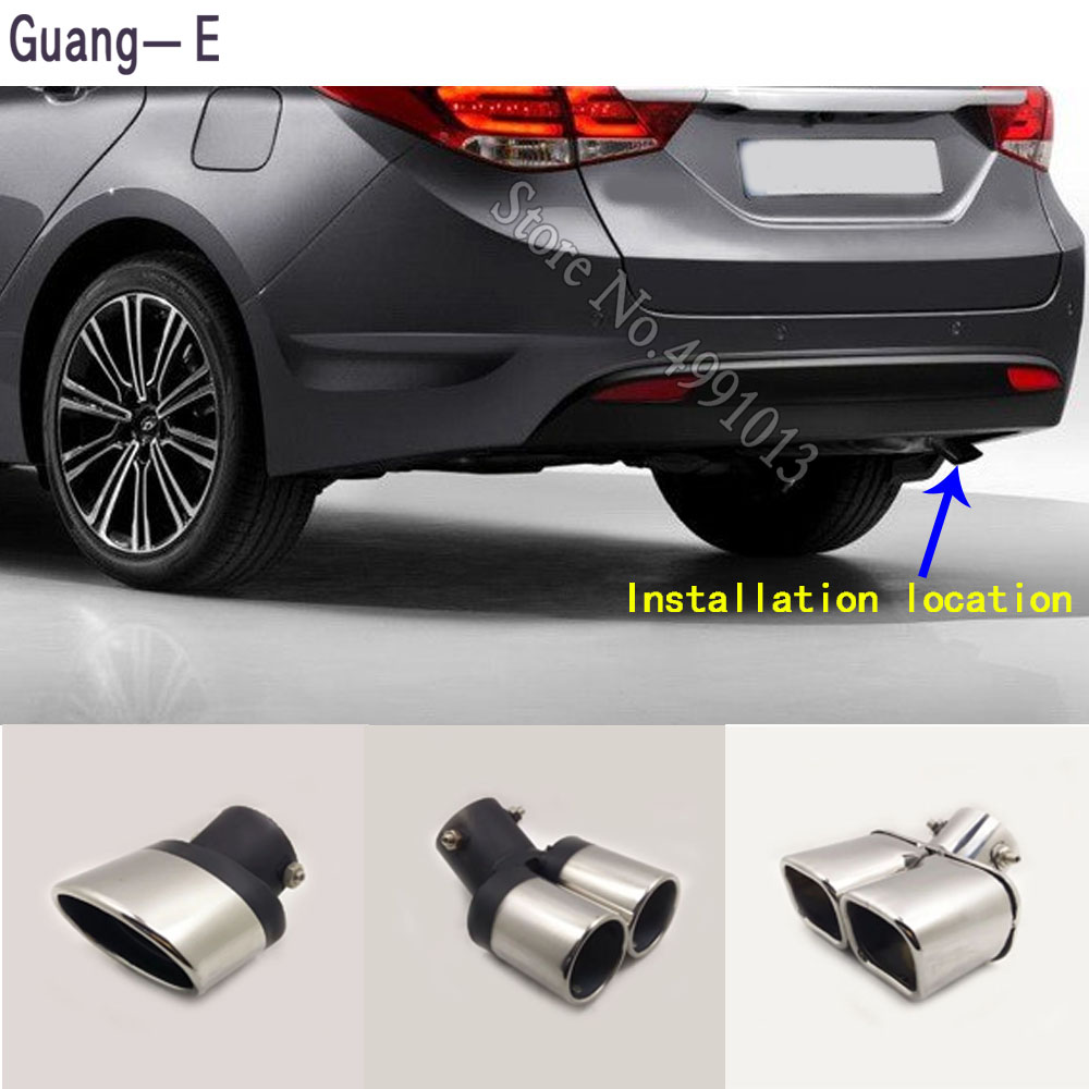 Silver Curved Tailpipe Exhaust Muffler Tail Pipe Tip for Hyundai IX35 2011-2018