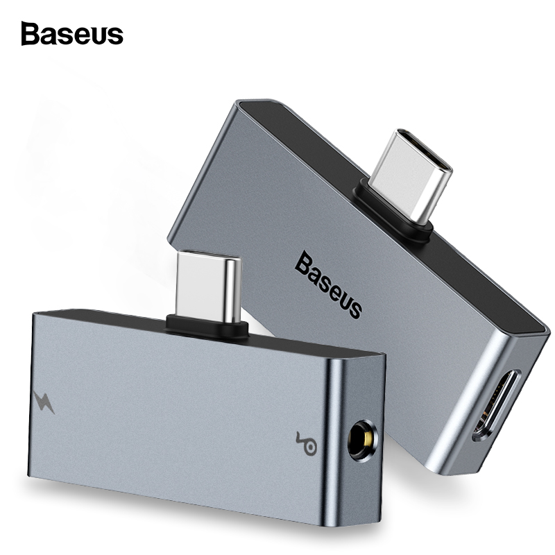 Baseus USB Type C To 3.5mm Headphone Jack AUX Adapter For Xiaomi Redmi Note 7 Huawei P20 P30 Pro Type-C Fast Charging Splitter