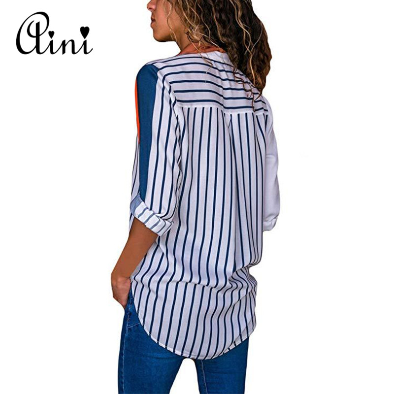 Plus Size Women Tops and Blouse 2018 Elegant Autumn Long Sleeve Striped Print V-neck Blouse Female Shirts Single Breasted Blouse 1