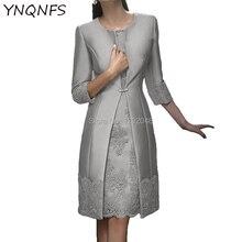 a0de83fa7fce7 Gerçek resimler iki adet anne ceket ile gelin elbise Bolero damat kıyafetler  gümüş parti konuk giymek