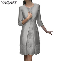 Real Pictures Two Piece Mother of the Bride Dresses With Jacket Bolero Groom Outfits Silver Party Guest Wear YNQNFS MD165