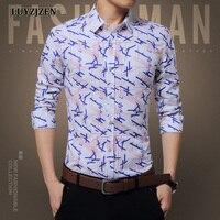 Mens Floral Print Shirt Slim Fit Casual Mens Shirts Big Sizes Designs Long Sleeve Man Cotton