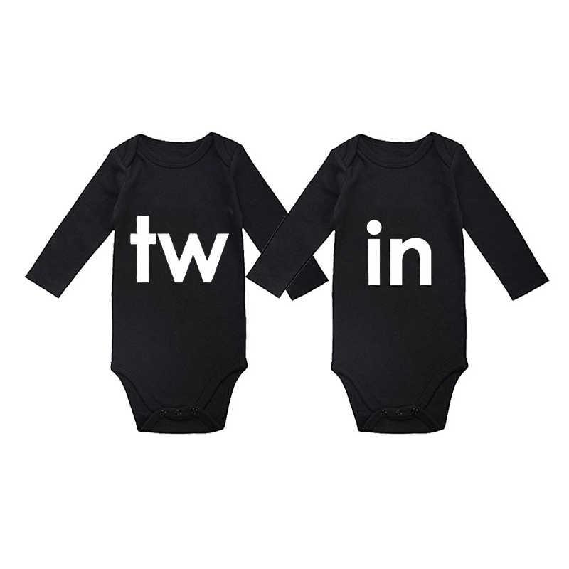 Culbutomind унисекс, костюм с рисунком близнецов, включает в себя 2 комбинезона, забавные хлопковые черные парные наряды с длинными рукавами для близнецов