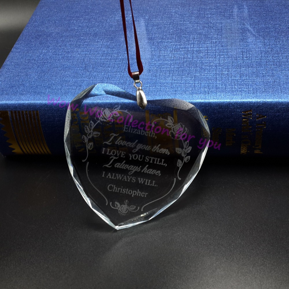 Glass heart christmas ornaments - Free Shipping 50 Pcs Lot Engrvaing Christmas Hanging Glass 60mm Heart Ornaments Pendants China