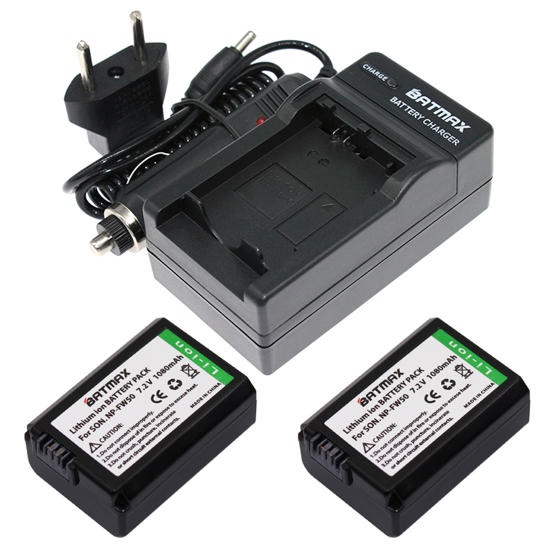 цена на 2x NP-FW50 NP FW50 Replacement Li-ion Batteries & Wall Charger Kit for Sony Alpha 7 7R 7R II 7S a7R a7S a7R II a5000 a5100 a6000
