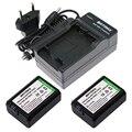 2x np-fw50 np fw50 kit de reemplazo de baterías de ion-litio y cargador de pared para sony alfa 7 7R 7R II 7 S a7R II a7R a7S a5000 a5100 a6000