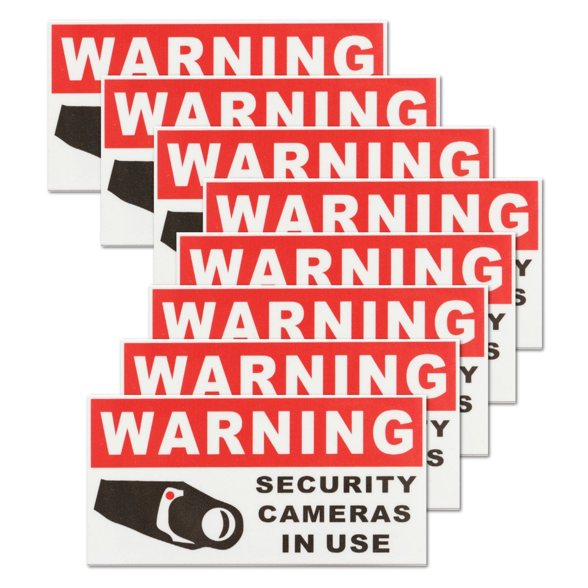 NEW 8Pcs SECURITY CAMERA IN USE Waterproof Self-adhensive Warning Stickers Safety Signs Decal image