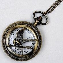 Hollow Retro Bronze Bird Steampunk Quartz Pocket Watch Necklace Chain Mens