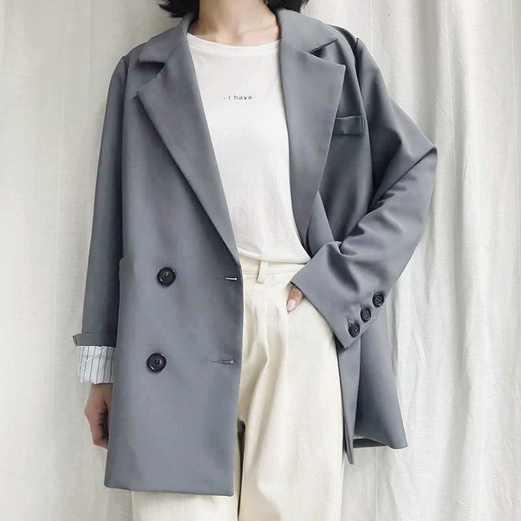 2018 New Gray Woman Loose Suit Blazers Double Breasted High Street Notched Coats Korean Style Casual Blazer Outwears Pockets