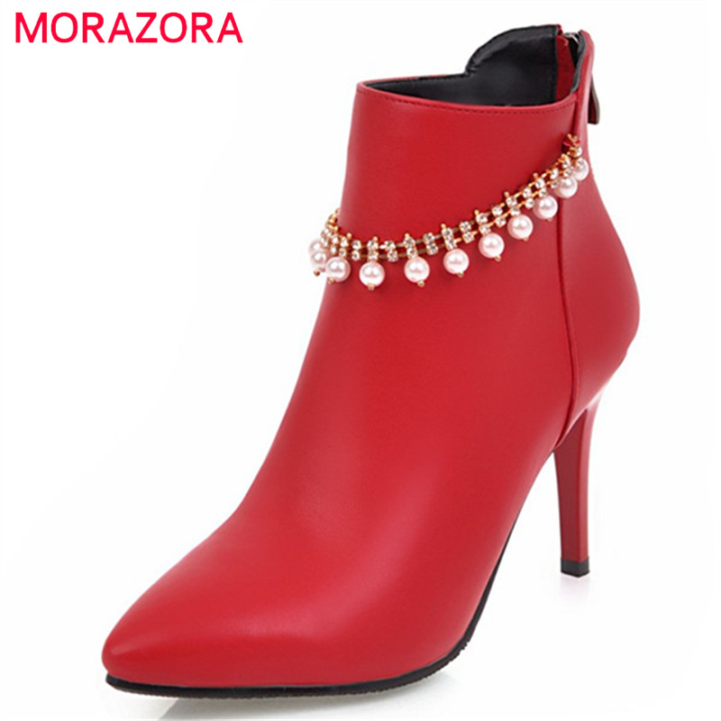 MORAZORA Party boots sexy lady thin heels shoes woman PU soft leather ankle boots for women autumn boots female big size 34-43 morazora pointed toe ankle boots for women high heels shoes woman fashion shoes woman autumn boots female big size 34 43
