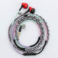 URIZONS wired earphone 3.5mm plug Handmade Rope headset Braided Wearable bracelet bass Music earphones Headsets for iphone PC