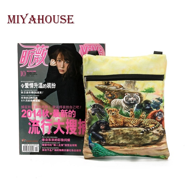 Colorful Animals Printed Messenger Bag For Girl Summer Ladies Mini Flap Shoulder Bag Casual Canvas Female Small Bag 5