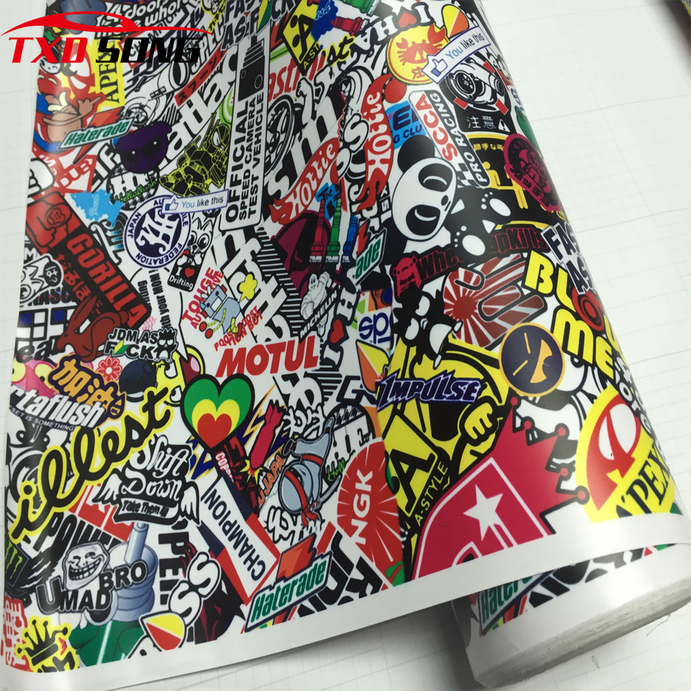 Bomb vinyl sticker on car diy graffiti sticker bomb wrap car stickers motorcycle accessories full car