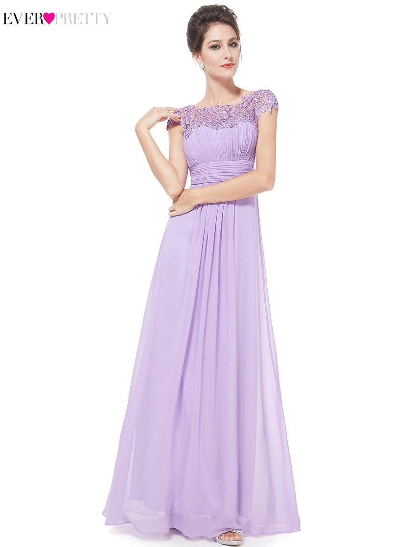 2018 elegante barato largo Lila vestidos de noche con encaje ...