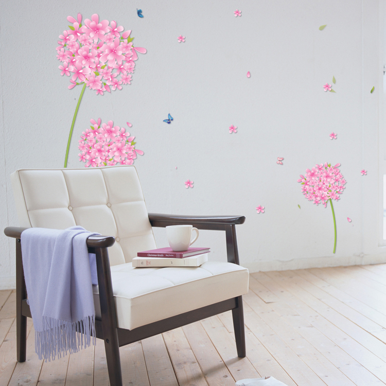 Aliexpress.com : Buy Sticker Pink Dandelion Flowers Decoration For Room Girl  Bedroom Wall Stickers Transparent Pvc Decor Decoration Home Living Room  From ... Part 50