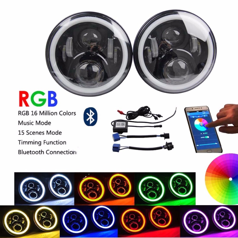 7 LED Headlights RGB - Bluetooth Controlled Headlamp with Multi-Color Halo. Driving Light for Jeep Wrangler JK/JKU, TJ, Hummer auxmart 22 led light bar 3 row 324w for jeep wrangler jk unlimited jku 07 17 straight 5d 400w led light bar mount brackets
