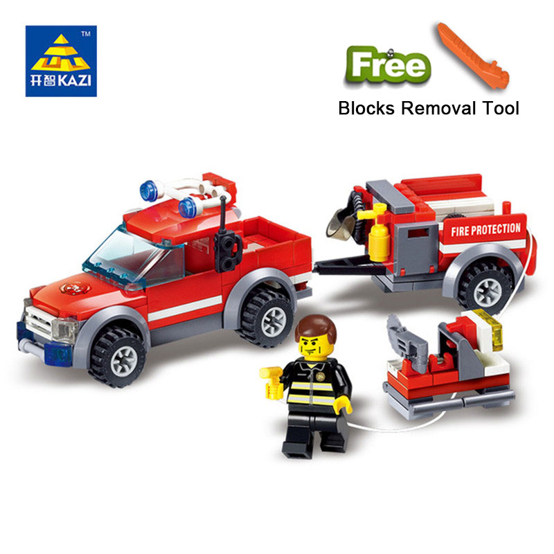 KAZI 8055 Toys 143pcs Firefighting Building Blocks Compatible Legoe City DIY Bricks Fire Assembled Toy Fire Truck Toys For Kids kazi toys 143pcs firefighting cew building blocks compatible legoe city diy bricks fire assembled toy fire truck toys for kids