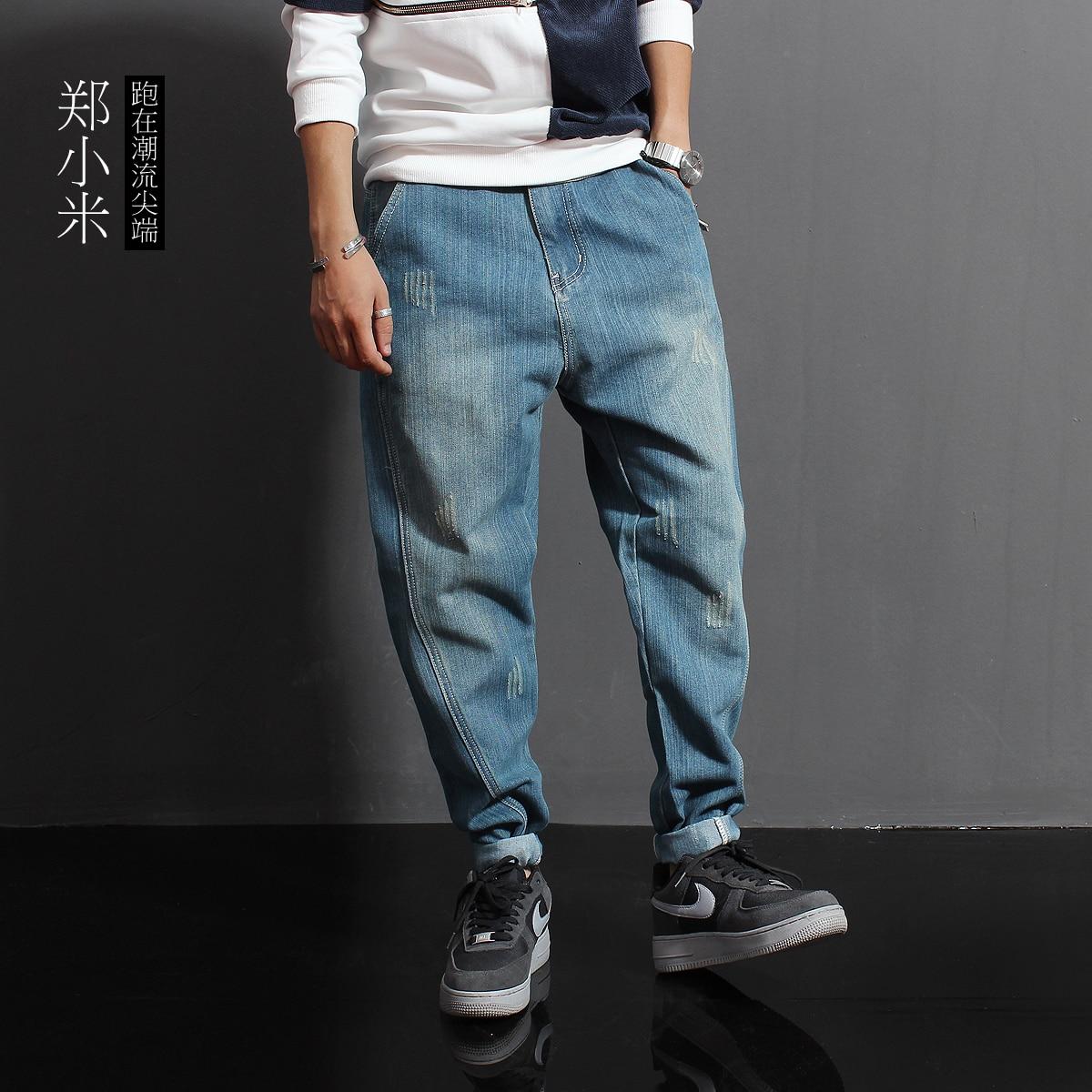 2016 autumn Japanese korean ripped jeans men trousers Street retro pure loose harem pants  denim blue for men