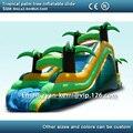 Envío libre de calidad comercial tropical palm tree venta tobogán hinchable tobogán inflable para adultos, incluyendo soplador