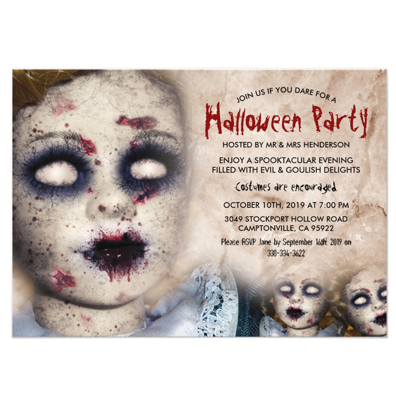 Us 9 99 Personalized Vintage Creepy Zombie Doll Halloween Decoration Party Invitation In Cards Invitations From Home Garden On Aliexpress