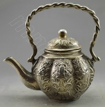 Collectible Decorated Old Handwork Tibet Silver Carved Flower Tea Pot