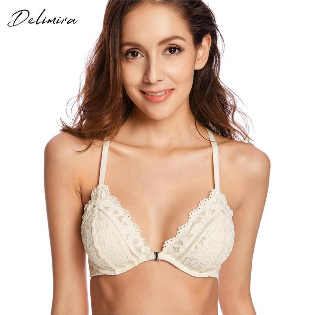 53bd1ff51a Women s Underwired Front Close Lightly Lined Sexy vs Floral Lace Plunge Bra