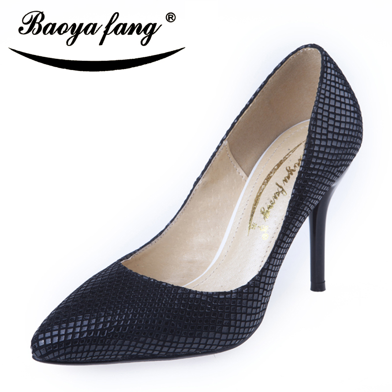 ФОТО High heels shoes ladies elegant snakeskin shoes pointed toe thin heels sexy black single shoes career customize high quality