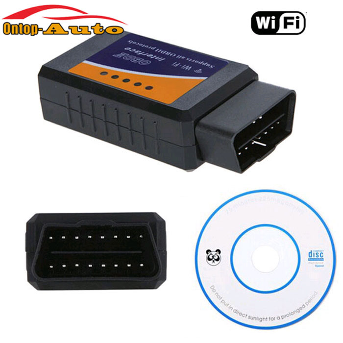 WiFi WLAN OBDII OBD2 Code Scanner Diagnostic Interface Tool + CD For iPhone iPad iPod iTouch PC