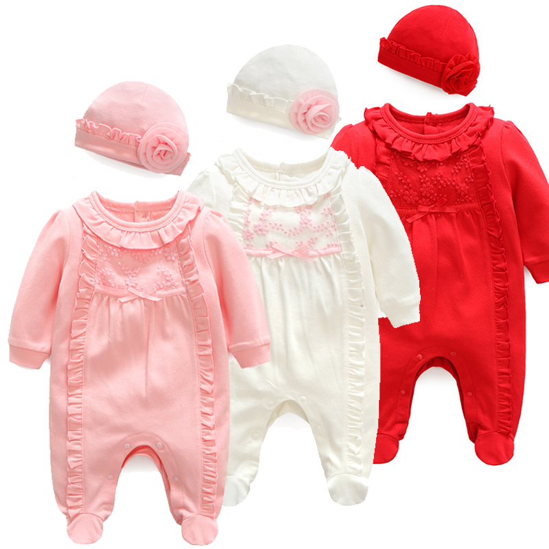 Princess Newborn Baby Girl Clothes Flowers Jumpsuits & Hats Clothing Sets Lace Girls Footies For Autumn Spring Baby Body Suits