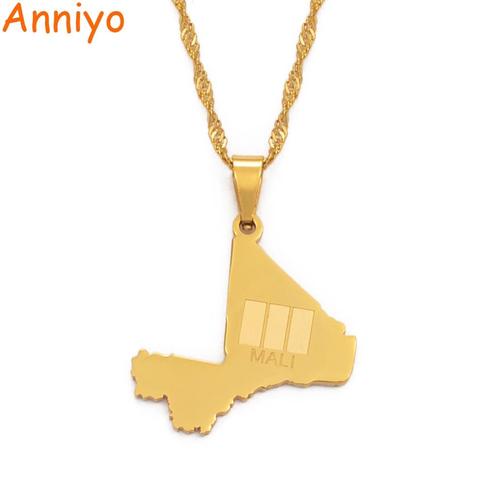 Anniyo Mali mapa i wisiorek flaga naszyjniki dla kobiet dziewczyn złoty kolor biżuteria etniczna Republique du Mali ze stali nierdzewnej #112321