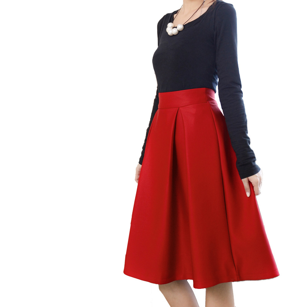 2016 new winter Hepburn style retro Girls long skirts high waist pleated skirts big umbrella ...