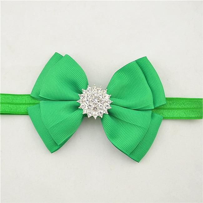 100pcs girl plain Ribbon Bowknot Headband Elastic Hair Band Rhinestone bow shining Hairband Accessories headwear HD046