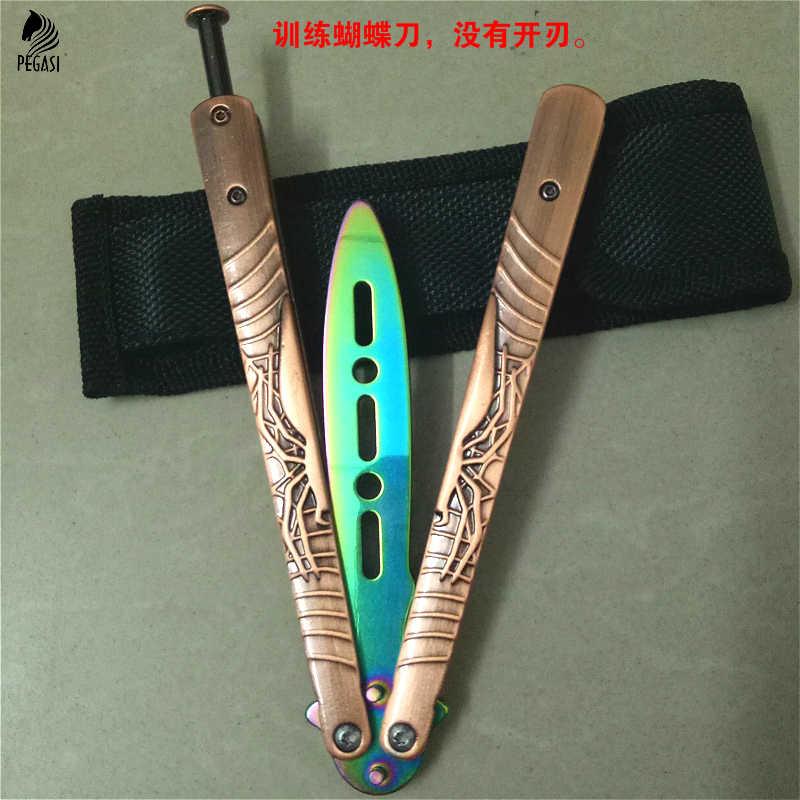 Складной нож-бабочка PEGASI, складной нож-бабочка с титановым покрытием, не острый, свободный, белый, Balisong, без Scre