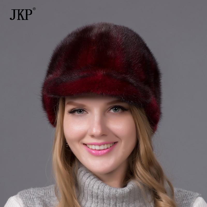 100% Իրական ամբողջ մորթուց Mink Fur Caps Visors - Հագուստի պարագաներ - Լուսանկար 4