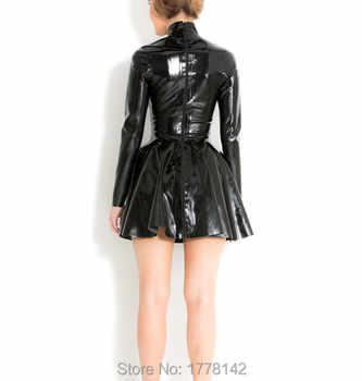 Women\'s Skater Mini Dress in Black Rubber Latex with High Neck