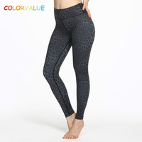 Colorvalue Black Leopard Printed Sport Athletic Leggings Women High Waist Running Yoga Pants Top Quality Jogger