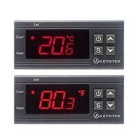 KT1000 12 V 24 V 220 V цифровой регулятор температуры 10A C/F два реле инкубатор температурный термостат с нагревателем и кулером