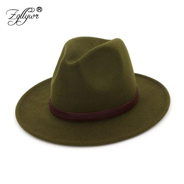 8a689c134b5 Zgllywr Fedoras Felt Hat Big Brim Hats For Women Men British Style Vintage  Church Hats Lady Flat 2018 Autumn Winter