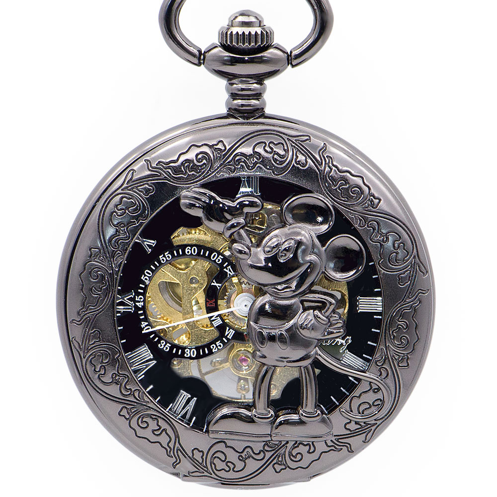 Drop Shipping Retro Mens Pocket Watches Mechanical Mouse Logo Hollow Carving Fob Watch Fashion Mens Gift Watches