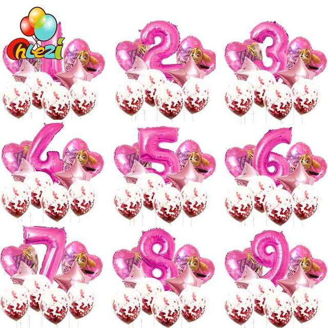 PAW Patrol birthday party Foil helium balloon number 1 2 3 years old globos Confetti balloon Cartoon figure balloon baby shower