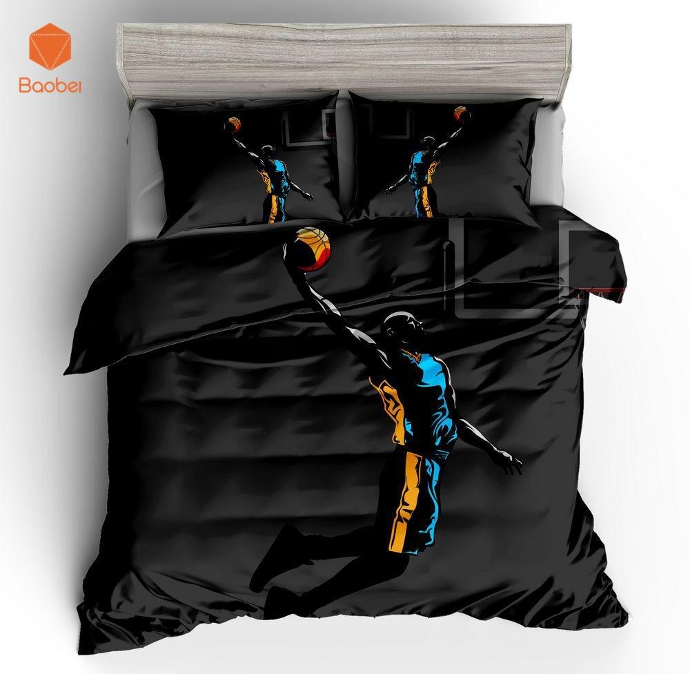 Набор постельного белья из 3 предметов для игры в баскетбол с 3D рисунком, набор постельного белья с наволочками для взрослых и детей, набор для близнецов, полный размер, sj208