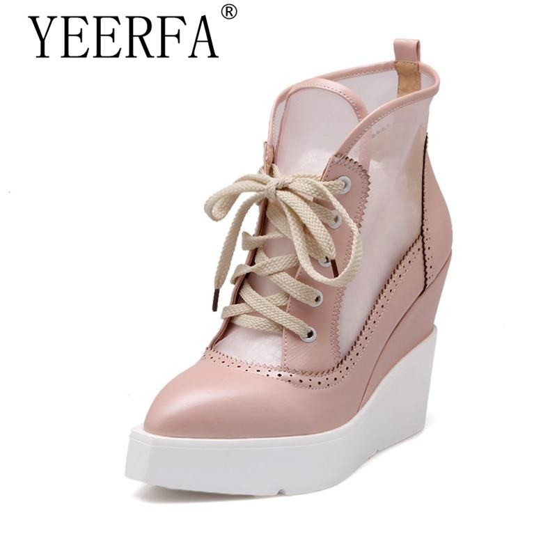YEERFA 2017 NEW High Heels Wedge Pumps Lace Up Sexy Cut-out Mesh Platform Pumps Women Elegant Thick Sole Summer Fashion shoes nayiduyun fashion women cow leather lace up fashion high heels wedge sneakers platform party pumps low top casual punk greepers