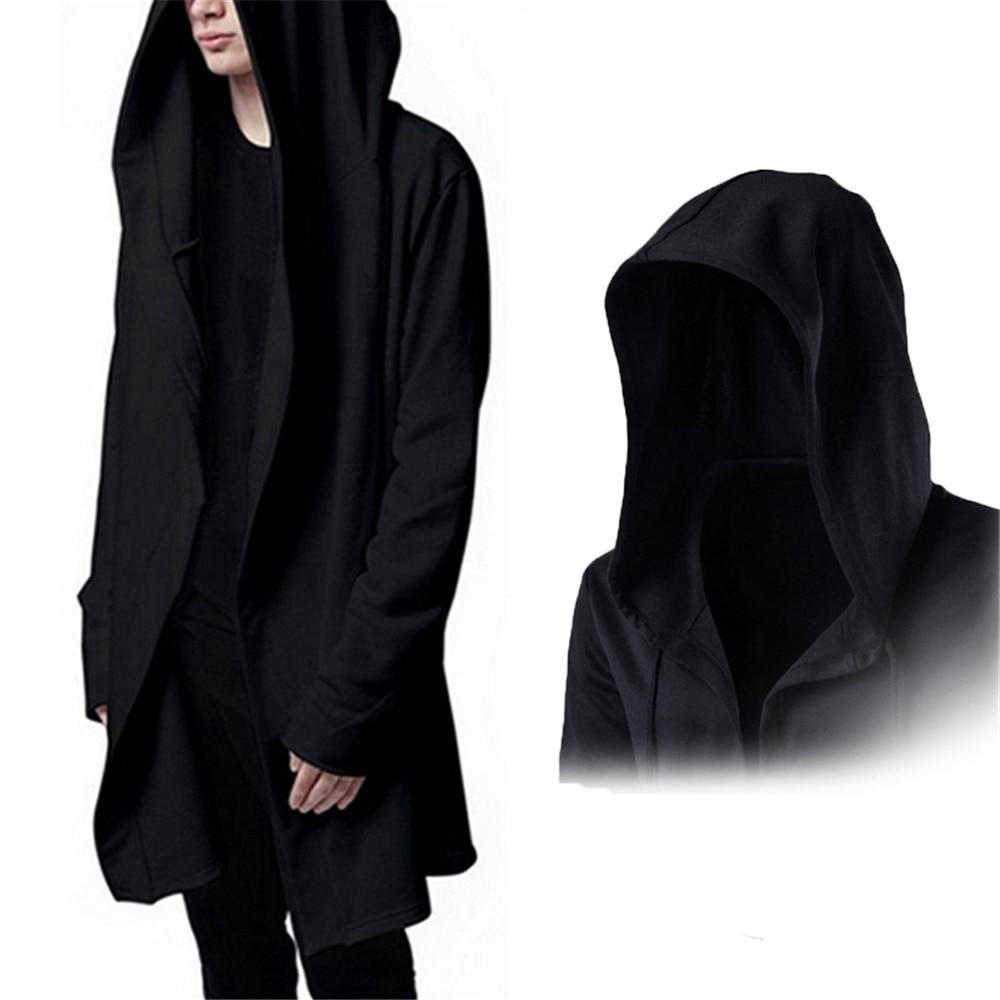 Helisopus Men Hooded Sweatshirts Black Gown Hip Hop Hoodies Autumn Long Sleeves Cloak Outwear Jacket Plus Size Steetwear For Men