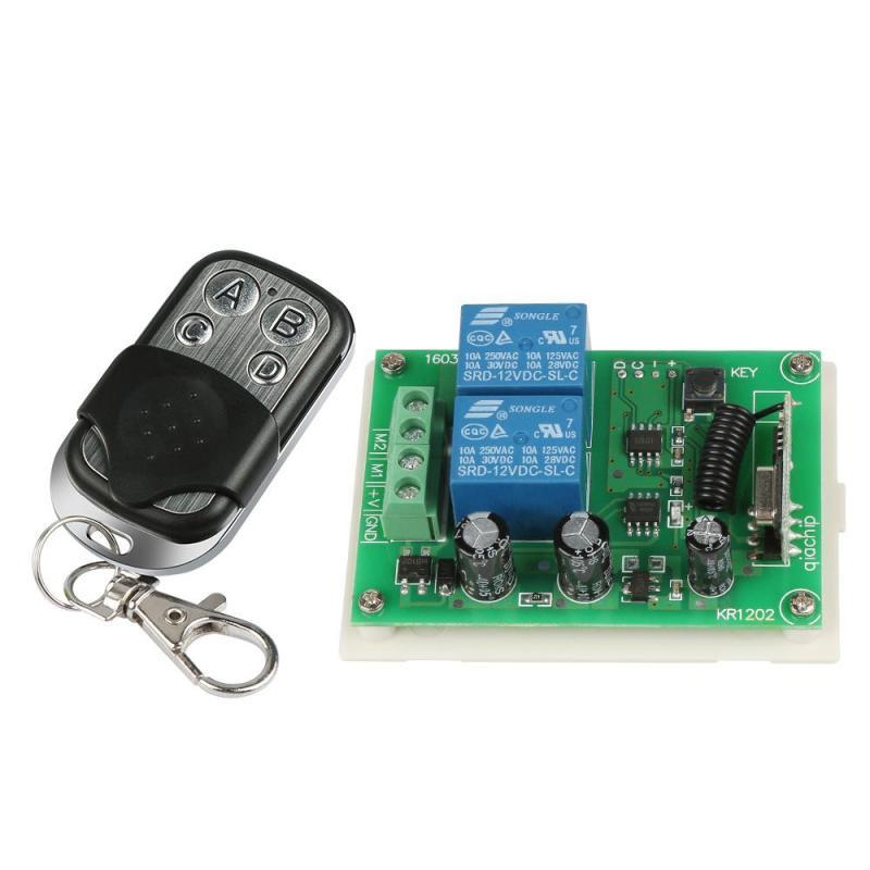 Wireless 433MHz RF 4 Channel Remote Control Learning Code 1527 Transmitter And 2 CH Relay Receiver Module DIY Switch Set Garage