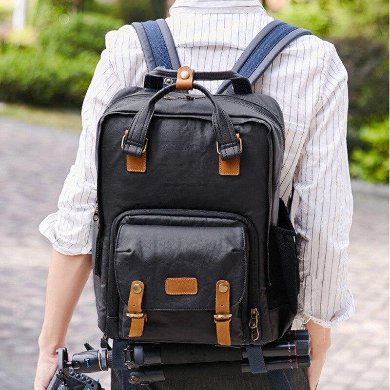 Professional Retro Fashion Casual Waterproof Canvas Camera Tripod Bag Photography Tripod DSLR Backpack for Canon Nikon