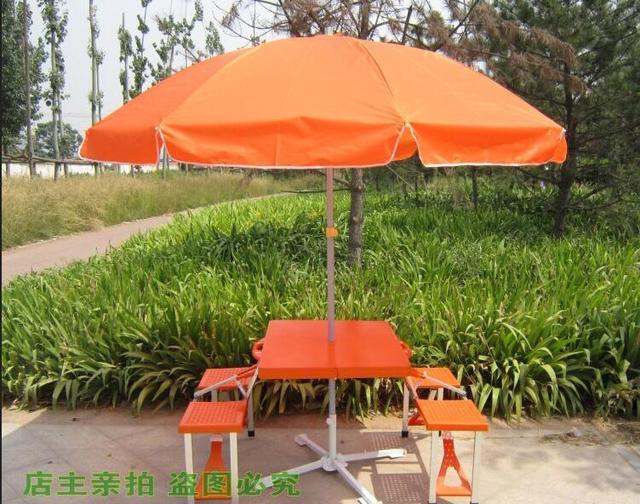 Todo o conjunto de Dobramento Ao Ar Livre portátil camping mesa de jantar Mesas de Praia com guarda-chuva + base