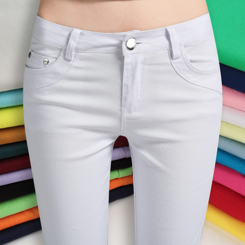 21 colors candy Plus size ladies strentch denim   pants     capris   women high waist skinny pencil suit   pants   female trousers leggings