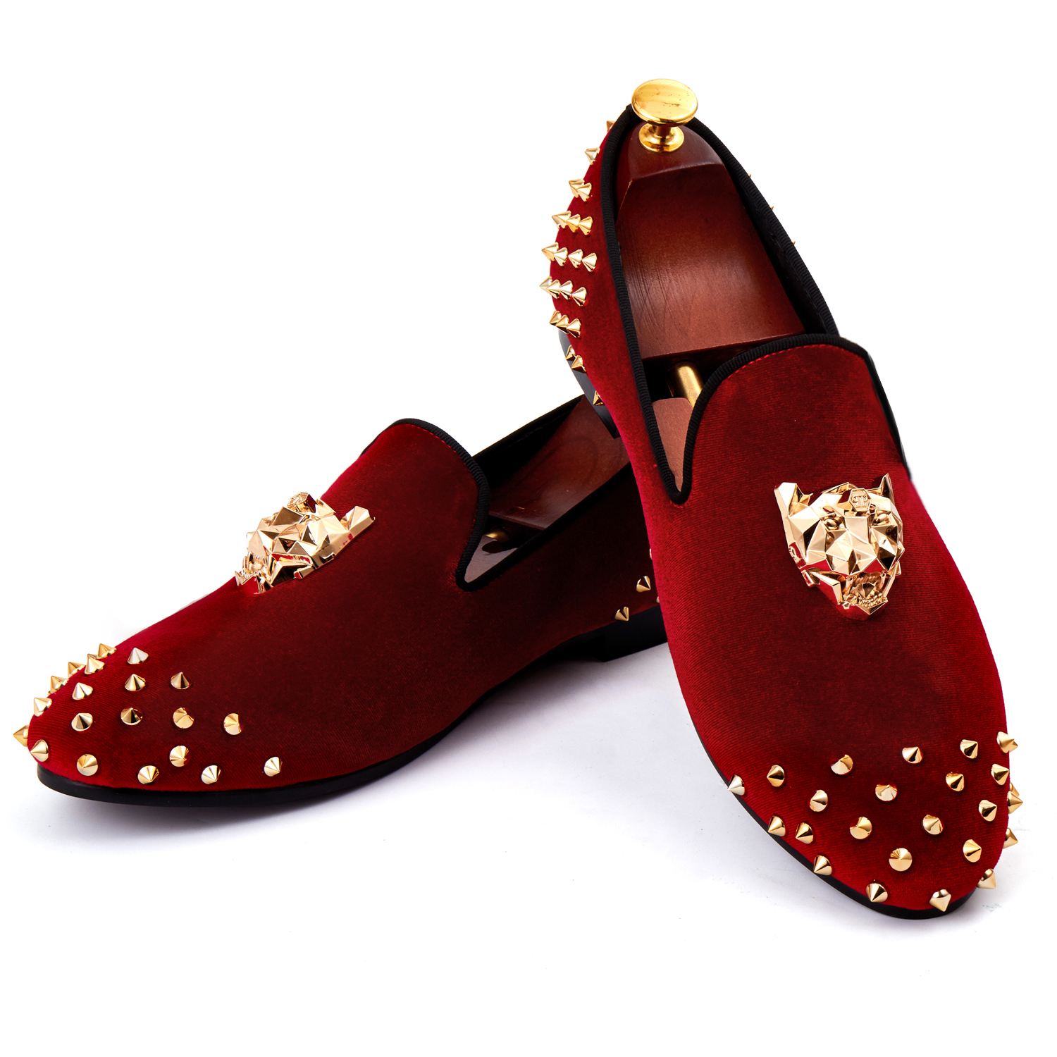 Harpelunde Hommes Rivets Chaussures Animal Boucle Chaussures Habillées Rouge Velours Mocassins Taille 6-14
