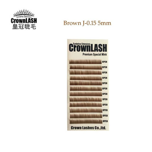 CrownLash Lower Lash Brown J-0.15-5mm Eyebrows Extension Under Eyelash  Natural Short