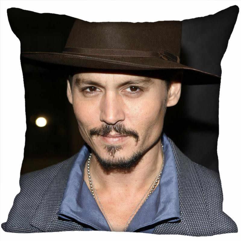 Films personnalisés étoiles taies d'oreiller Johnny Depp taie d'oreiller carrée noël housse de coussin à glissière 40*40cm,45*45cm (un côté)